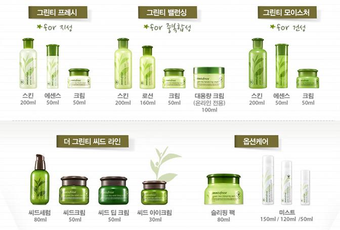 Innisfree، محصولات پوستی کره ای